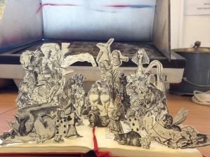 College project for altered book art, 3D Alice in Wonderland